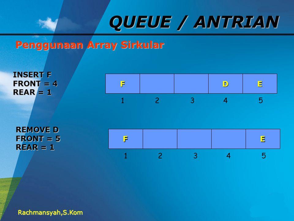 Rachmansyah,S.Kom QUEUE / ANTRIAN Penggunaan Array Sirkular FED 1 2 3 4 5 INSERT F FRONT = 4 REAR = 1 FE 1 2 3 4 5 REMOVE D FRONT = 5 REAR = 1