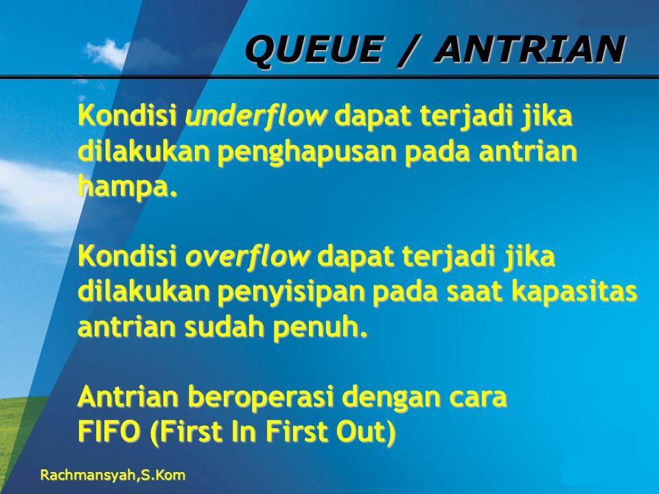 Rachmansyah,S.Kom QUEUE / ANTRIAN Ada 4 operasi dasar yang dapat dilakukan terhadap antrian: 1.CREATE(Antrian) 2.ISEMPTY(Antrian) 3.INSERT(elemen,Antrian) 4.REMOVE(Antrian)