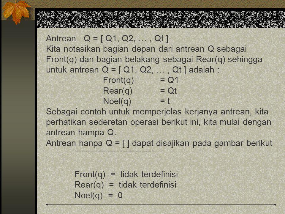 Lalu kita insert elemen A, diperoleh Q = [ A ] A Front(q) = A Rear(q) = A Noel(q) = 1 Lalu kita insert kembali elemen B, diperoleh Q = [ A B ] AB Front(q) = A Rear(q) = B Noel(q) = 2 Dan kita remove (hapus) sebuah elemen dari Q maka diperoleh Q = [ B ]