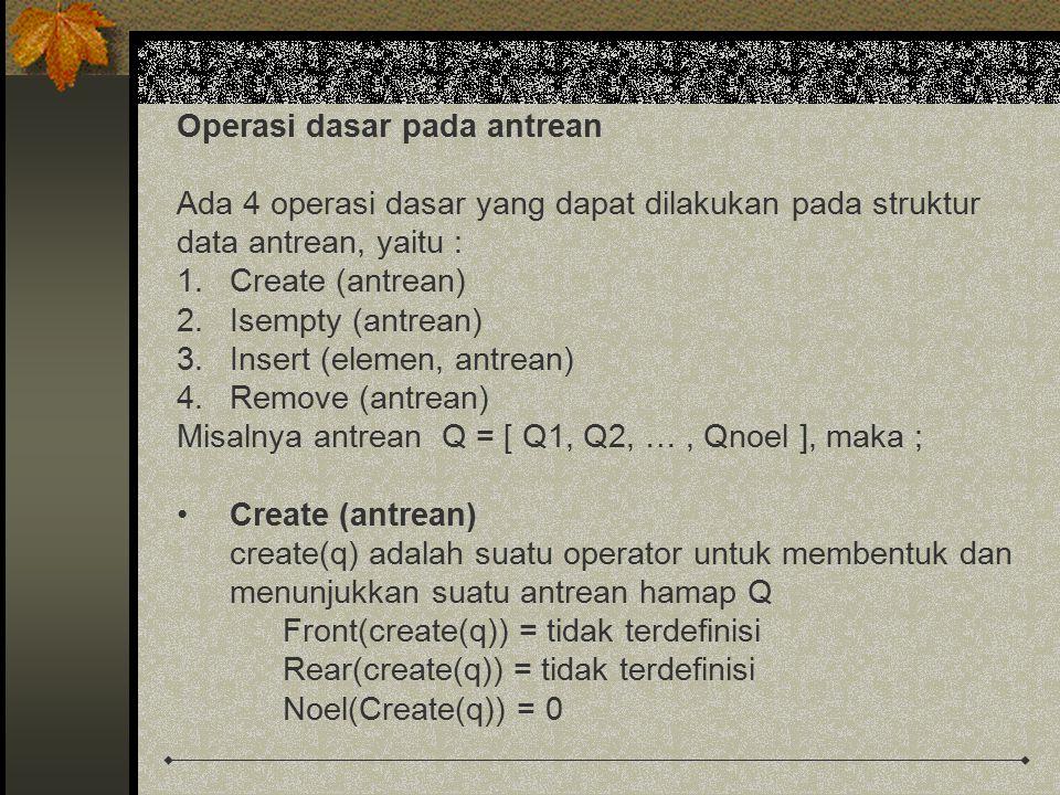 Operasi dasar pada antrean Ada 4 operasi dasar yang dapat dilakukan pada struktur data antrean, yaitu : 1.Create (antrean) 2.Isempty (antrean) 3.Inser