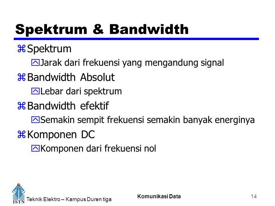 Teknik Elektro – Kampus Duren tiga Komunikasi Data 14 Spektrum & Bandwidth zSpektrum yJarak dari frekuensi yang mengandung signal zBandwidth Absolut y