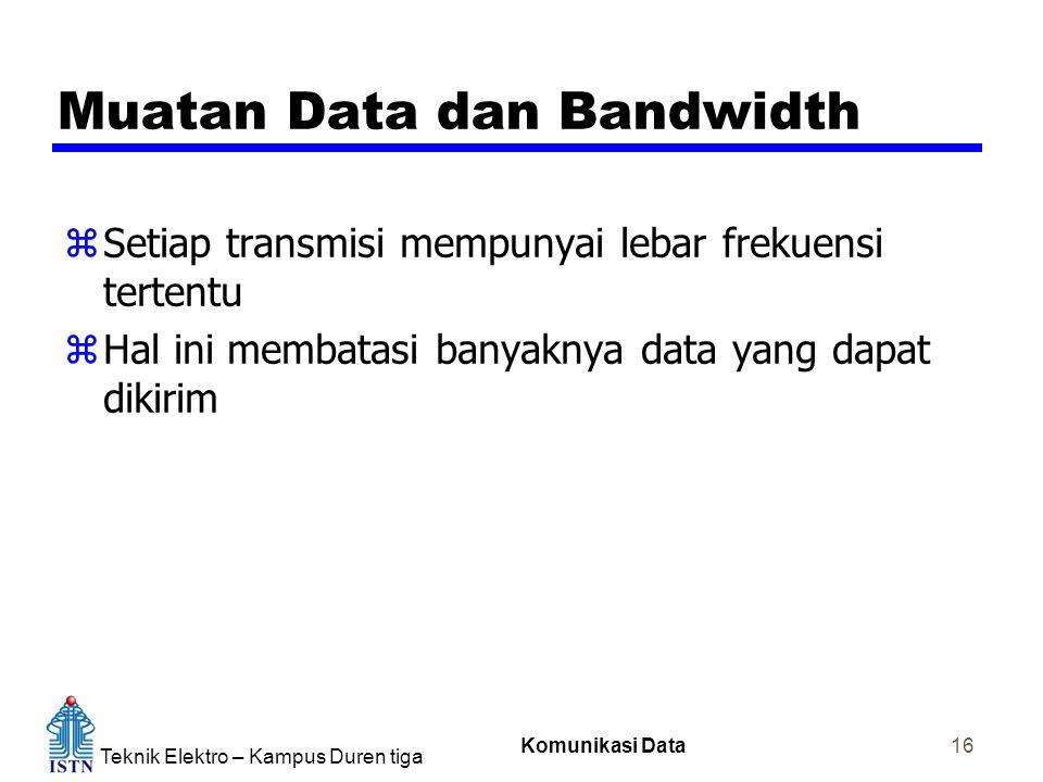 Teknik Elektro – Kampus Duren tiga Komunikasi Data 16 Muatan Data dan Bandwidth zSetiap transmisi mempunyai lebar frekuensi tertentu zHal ini membatas