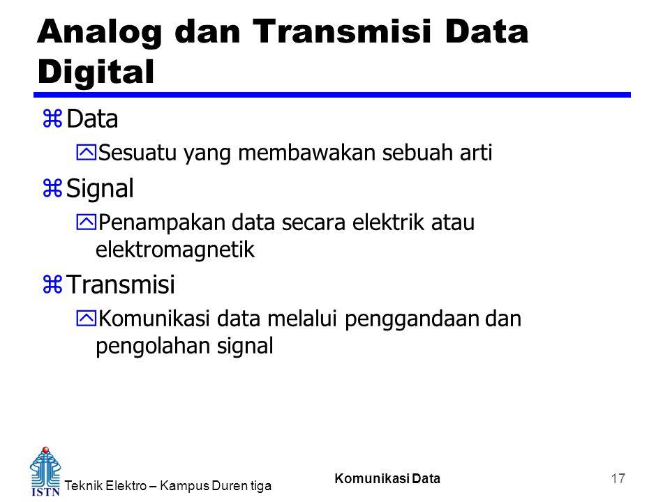 Teknik Elektro – Kampus Duren tiga Komunikasi Data 17 Analog dan Transmisi Data Digital zData ySesuatu yang membawakan sebuah arti zSignal yPenampakan data secara elektrik atau elektromagnetik zTransmisi yKomunikasi data melalui penggandaan dan pengolahan signal