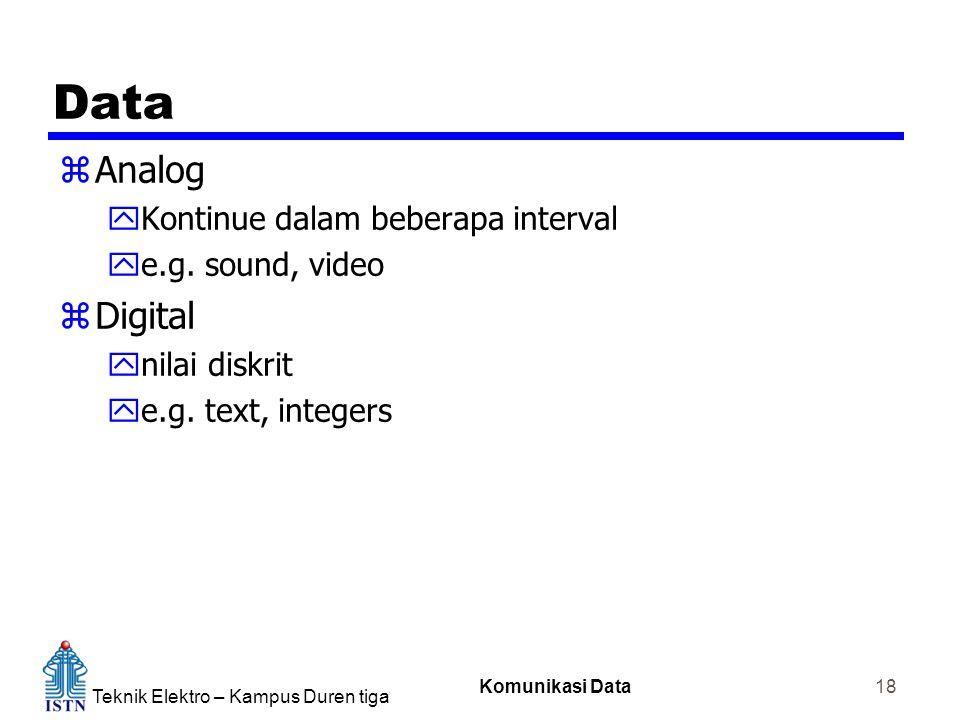 Teknik Elektro – Kampus Duren tiga Komunikasi Data 18 Data zAnalog yKontinue dalam beberapa interval ye.g. sound, video zDigital ynilai diskrit ye.g.