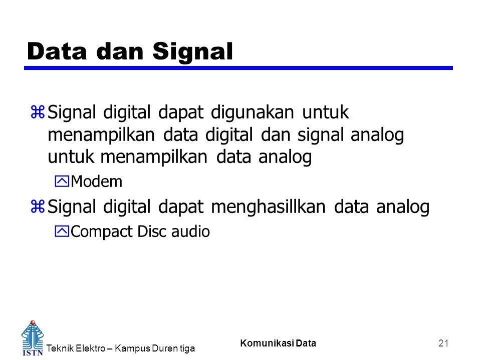 Teknik Elektro – Kampus Duren tiga Komunikasi Data 21 Data dan Signal zSignal digital dapat digunakan untuk menampilkan data digital dan signal analog untuk menampilkan data analog yModem zSignal digital dapat menghasillkan data analog yCompact Disc audio