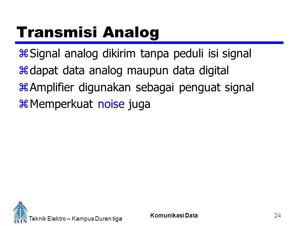 Teknik Elektro – Kampus Duren tiga Komunikasi Data 24 Transmisi Analog zSignal analog dikirim tanpa peduli isi signal zdapat data analog maupun data digital zAmplifier digunakan sebagai penguat signal zMemperkuat noise juga