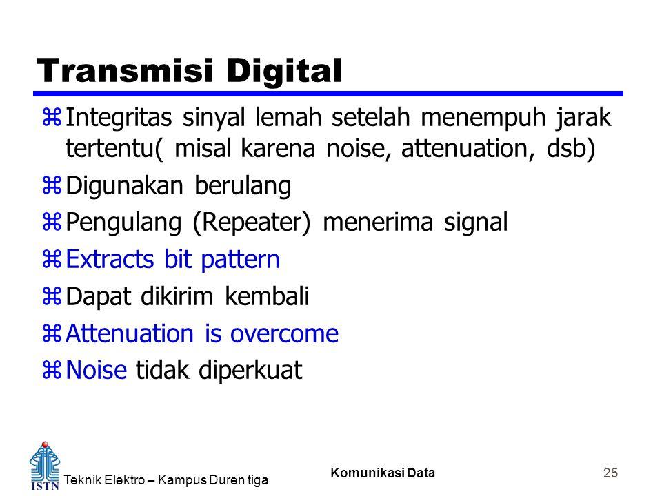 Teknik Elektro – Kampus Duren tiga Komunikasi Data 25 Transmisi Digital zIntegritas sinyal lemah setelah menempuh jarak tertentu( misal karena noise,