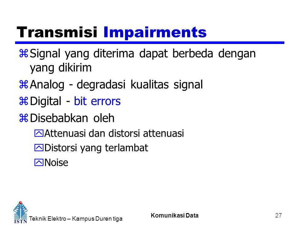 Teknik Elektro – Kampus Duren tiga Komunikasi Data 27 Transmisi Impairments zSignal yang diterima dapat berbeda dengan yang dikirim zAnalog - degradasi kualitas signal zDigital - bit errors zDisebabkan oleh yAttenuasi dan distorsi attenuasi yDistorsi yang terlambat yNoise