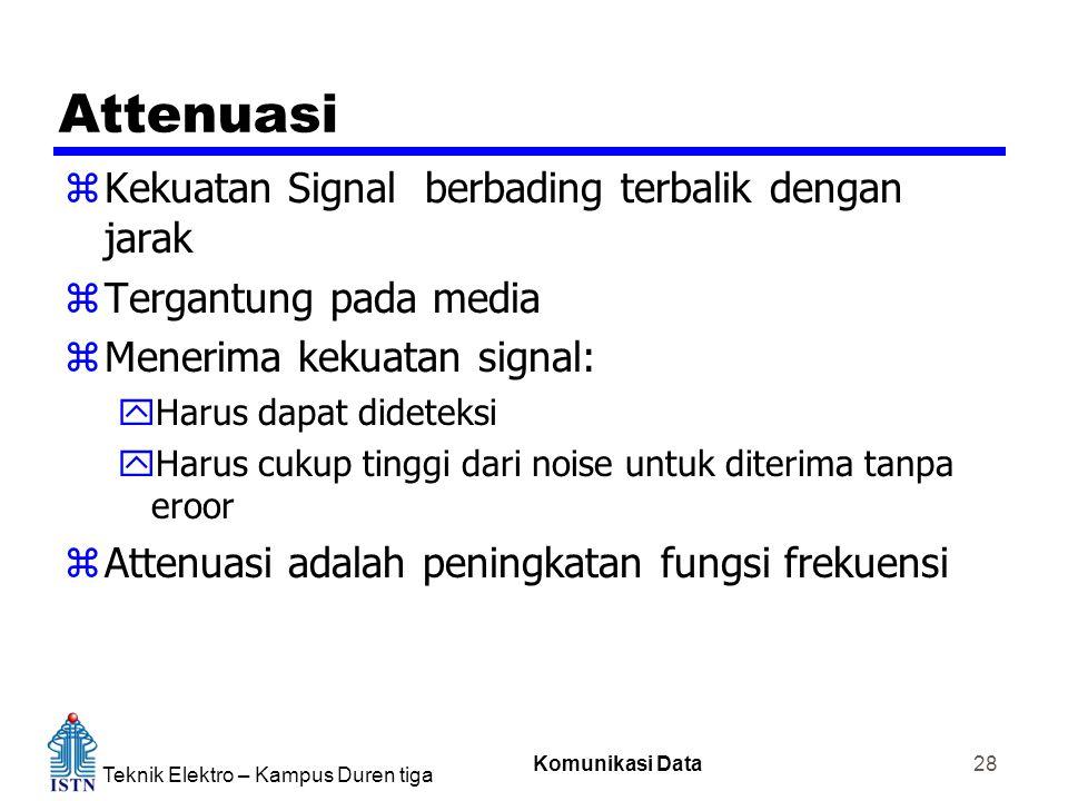 Teknik Elektro – Kampus Duren tiga Komunikasi Data 28 Attenuasi zKekuatan Signal berbading terbalik dengan jarak zTergantung pada media zMenerima keku