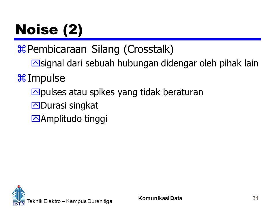 Teknik Elektro – Kampus Duren tiga Komunikasi Data 31 Noise (2) zPembicaraan Silang (Crosstalk) ysignal dari sebuah hubungan didengar oleh pihak lain