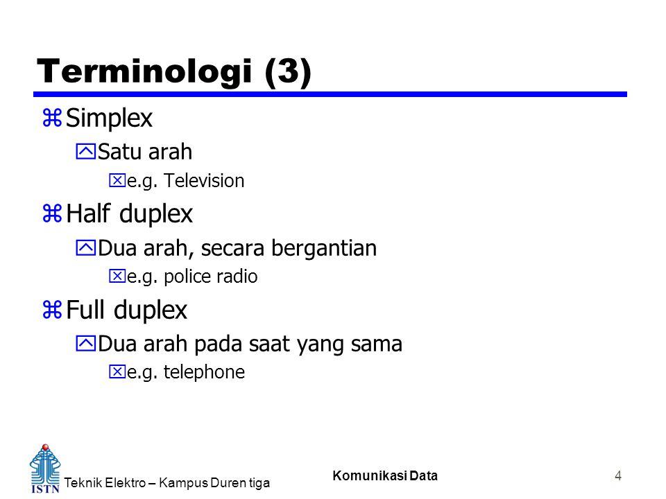 Teknik Elektro – Kampus Duren tiga Komunikasi Data 4 Terminologi (3) zSimplex ySatu arah xe.g.
