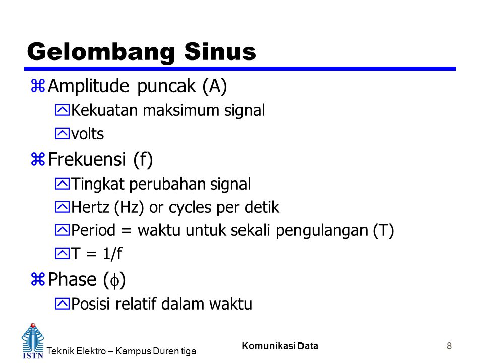 Teknik Elektro – Kampus Duren tiga Komunikasi Data 8 Gelombang Sinus zAmplitude puncak (A) yKekuatan maksimum signal yvolts zFrekuensi (f) yTingkat perubahan signal yHertz (Hz) or cycles per detik yPeriod = waktu untuk sekali pengulangan (T) yT = 1/f  Phase (  ) yPosisi relatif dalam waktu