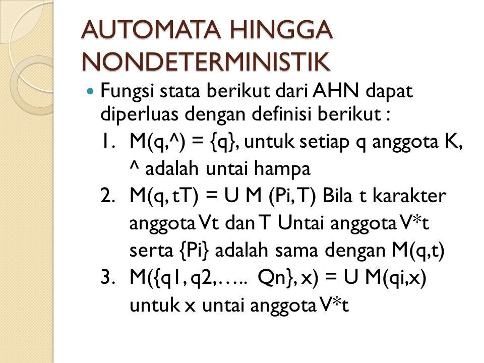 Fungsi stata berikut dari AHN dapat diperluas dengan definisi berikut : 1. M(q,^) = {q}, untuk setiap q anggota K, ^ adalah untai hampa 2. M(q, tT) =