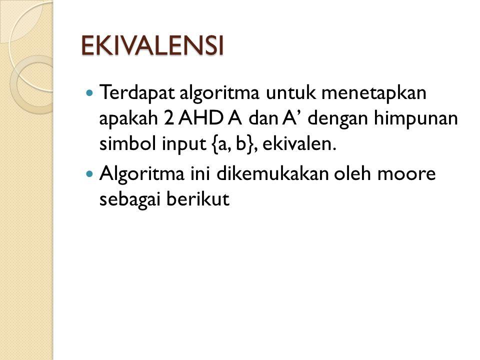 EKIVALENSI Terdapat algoritma untuk menetapkan apakah 2 AHD A dan A' dengan himpunan simbol input {a, b}, ekivalen. Algoritma ini dikemukakan oleh moo