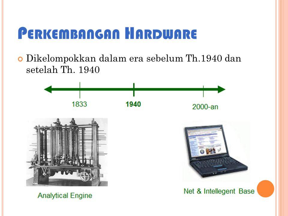 P ERKEMBANGAN H ARDWARE Dikelompokkan dalam era sebelum Th.1940 dan setelah Th. 1940
