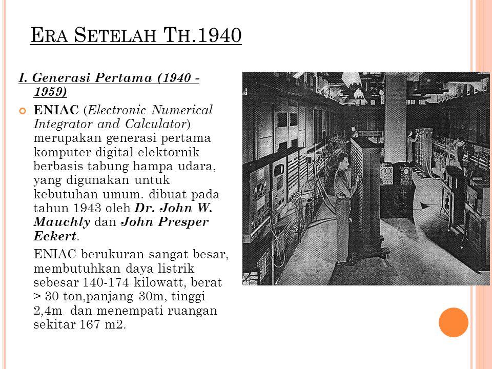 E RA S ETELAH T H.1940 I. Generasi Pertama (1940 - 1959) ENIAC ( Electronic Numerical Integrator and Calculator ) merupakan generasi pertama komputer