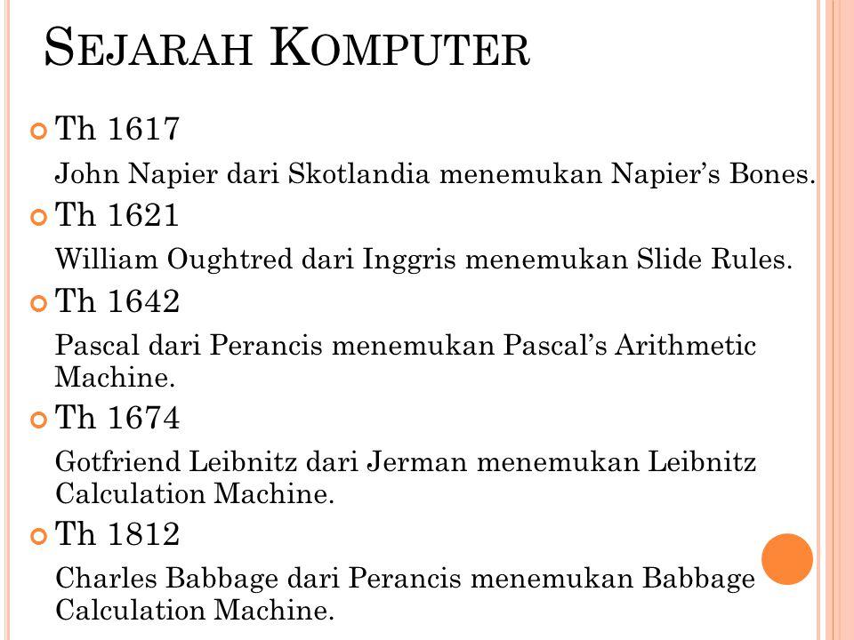 S EJARAH K OMPUTER Th 1617 John Napier dari Skotlandia menemukan Napier's Bones. Th 1621 William Oughtred dari Inggris menemukan Slide Rules. Th 1642