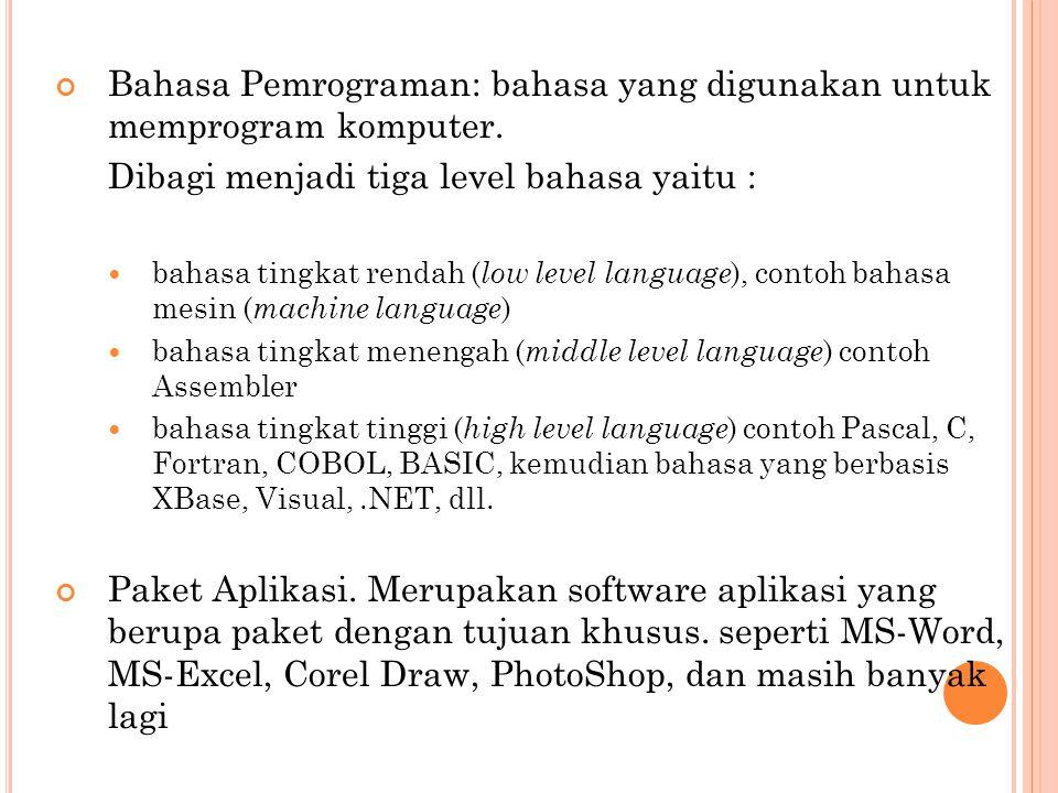 Bahasa Pemrograman: bahasa yang digunakan untuk memprogram komputer. Dibagi menjadi tiga level bahasa yaitu : bahasa tingkat rendah ( low level langua