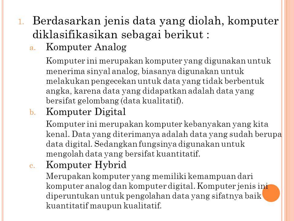 1. Berdasarkan jenis data yang diolah, komputer diklasifikasikan sebagai berikut : a. Komputer Analog Komputer ini merupakan komputer yang digunakan u