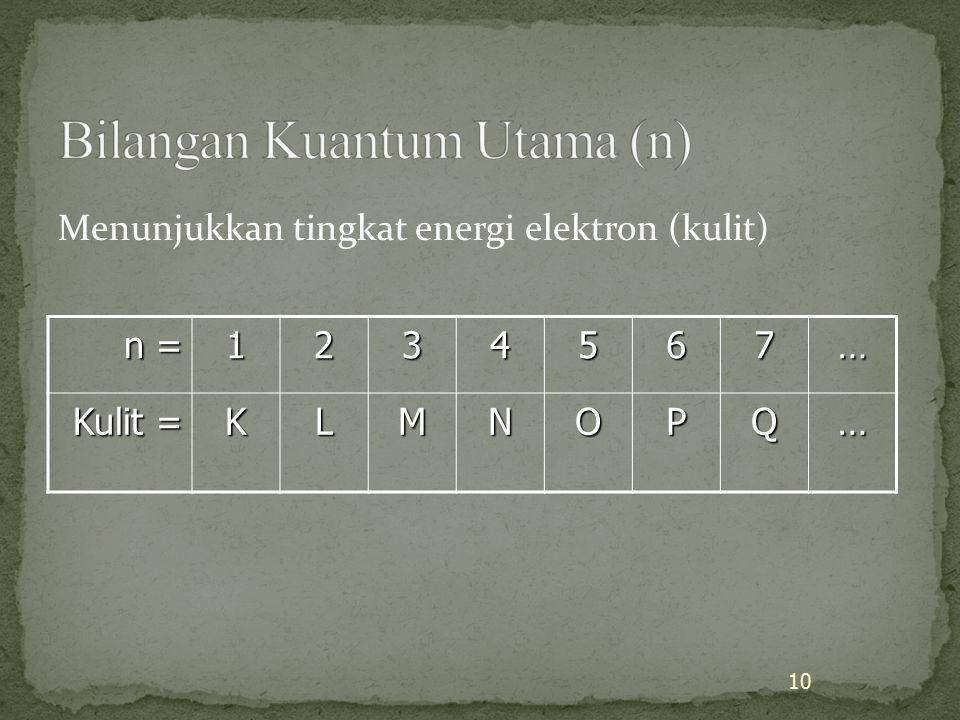 Menunjukkan tingkat energi elektron (kulit) n = 1234567… Kulit = KLMNOPQ… 10