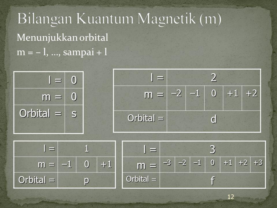 Menunjukkan orbital m = – l, …, sampai + l l = 0 m = 0 Orbital = s l = 2 m = –2–10+1+2 Orbital = d 12 l = 1 m = –10+1 Orbital = p l = 3 m = –3–2–10+1+