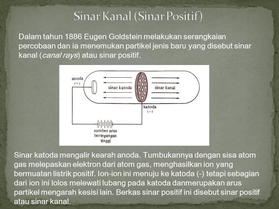Dalam tahun 1886 Eugen Goldstein melakukan serangkaian percobaan dan ia menemukan partikel jenis baru yang disebut sinar kanal (canal rays) atau sinar