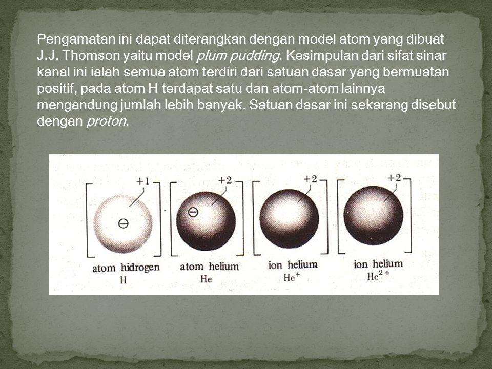 Pengamatan ini dapat diterangkan dengan model atom yang dibuat J.J. Thomson yaitu model plum pudding. Kesimpulan dari sifat sinar kanal ini ialah semu