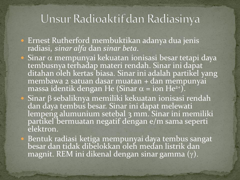 Ernest Rutherford membuktikan adanya dua jenis radiasi, sinar alfa dan sinar beta. Sinar  mempunyai kekuatan ionisasi besar tetapi daya tembusnya ter
