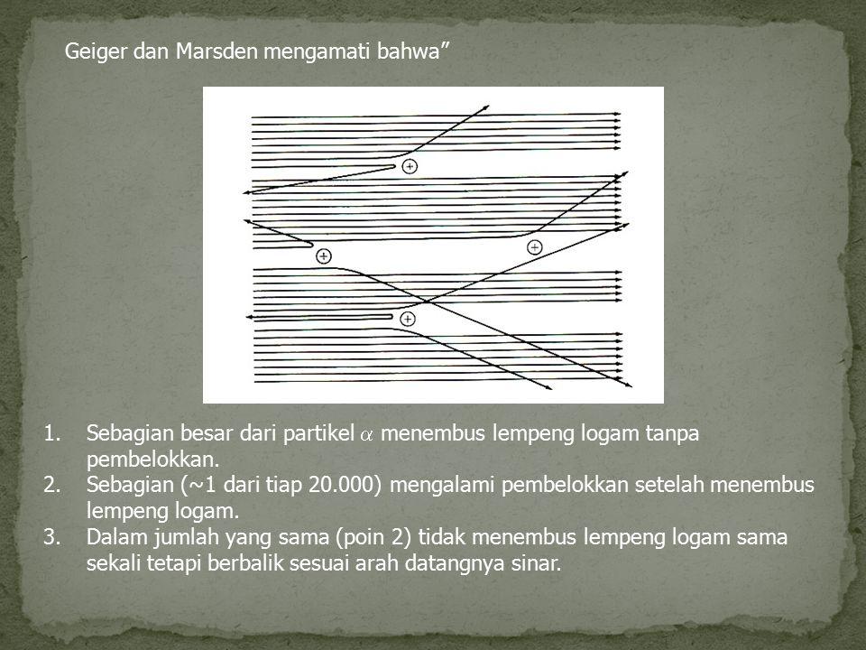 """Geiger dan Marsden mengamati bahwa"""" 1.Sebagian besar dari partikel  menembus lempeng logam tanpa pembelokkan. 2.Sebagian (~1 dari tiap 20.000) mengal"""