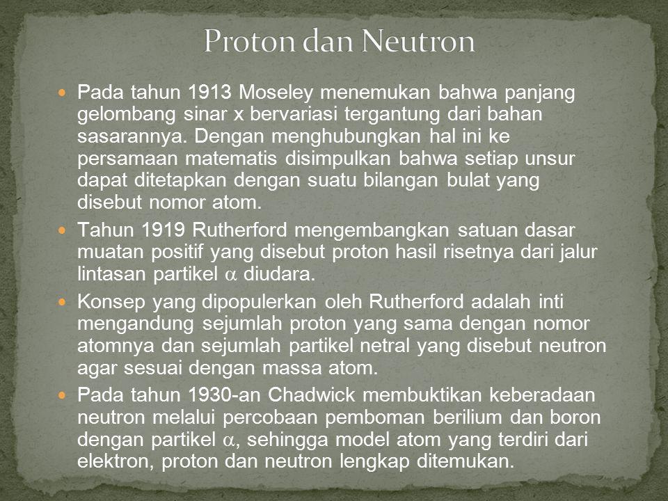 Pada tahun 1913 Moseley menemukan bahwa panjang gelombang sinar x bervariasi tergantung dari bahan sasarannya. Dengan menghubungkan hal ini ke persama