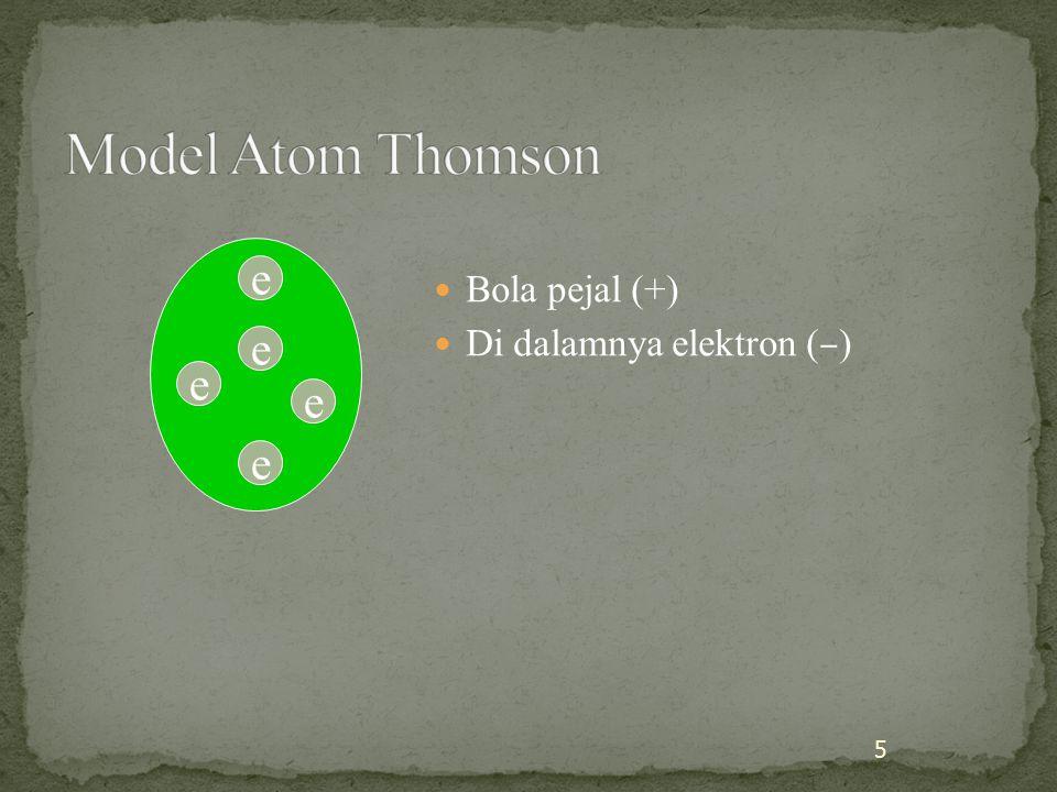 Bola pejal (+) Di dalamnya elektron ( – ) 5 e e e e e