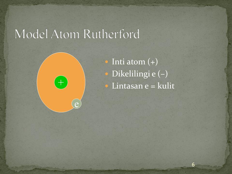 Kulit = tingkatan energi (berlapis) e dapat pindah kulit dengan menyerap/ melepas energi 7 ++