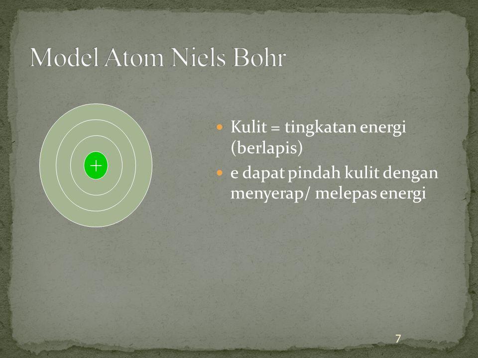 Tiap tingkat energi (kulit) terdiri satu/beberapa subtingkat energi (subkulit) Tiap subtingkat energi (subkulit) terdiri satu/beberapa orbital Tiap orbital dapat ditemukan paling banyak 2 elektron Posisi/kedudukan elektron tidak dapat ditentukan dengan pasti (ketidakpastian Heisenberg) Kebolehjadian/kemungkinan ditemukannya elektron dalam orbital dapat ditentukan dari bilangan kuantumnya 8