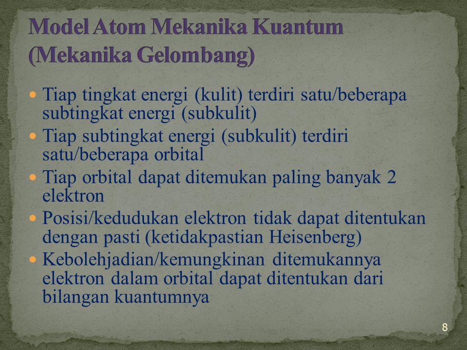Kedudukan elektron dalam atom dapat diterangkan dengan persamaan fungsi gelombang Schrödinger (  ) Penyelesaian  diperoleh 3 Bilangan:  Bilangan Kuantum Utama (n)  Bilangan Kuantum Azimuth (l)  Bilangan Kuantum Magnetik (m) 2 elektron dalam 1 orbital dibedakan dengan Bilangan Kuantum Spin (s) 9