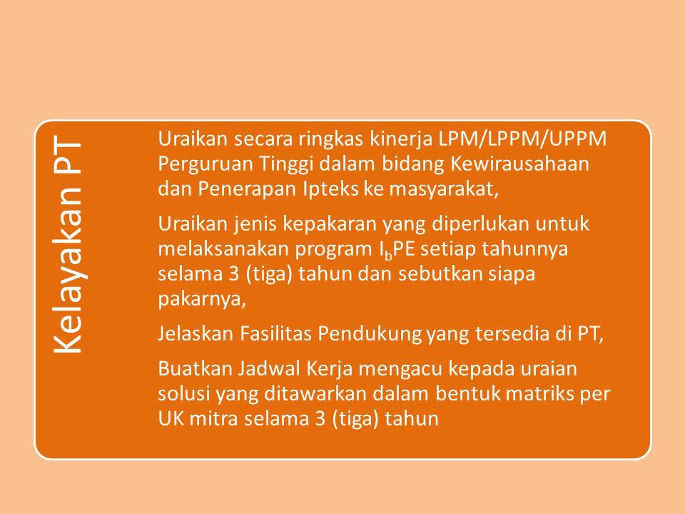 Kelayakan PT Uraikan secara ringkas kinerja LPM/LPPM/UPPM Perguruan Tinggi dalam bidang Kewirausahaan dan Penerapan Ipteks ke masyarakat, Uraikan jeni