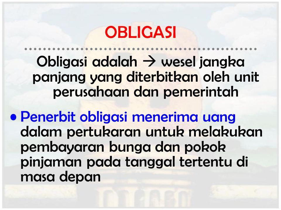 OBLIGASI Obligasi adalah  wesel jangka panjang yang diterbitkan oleh unit perusahaan dan pemerintah Penerbit obligasi menerima uang dalam pertukaran