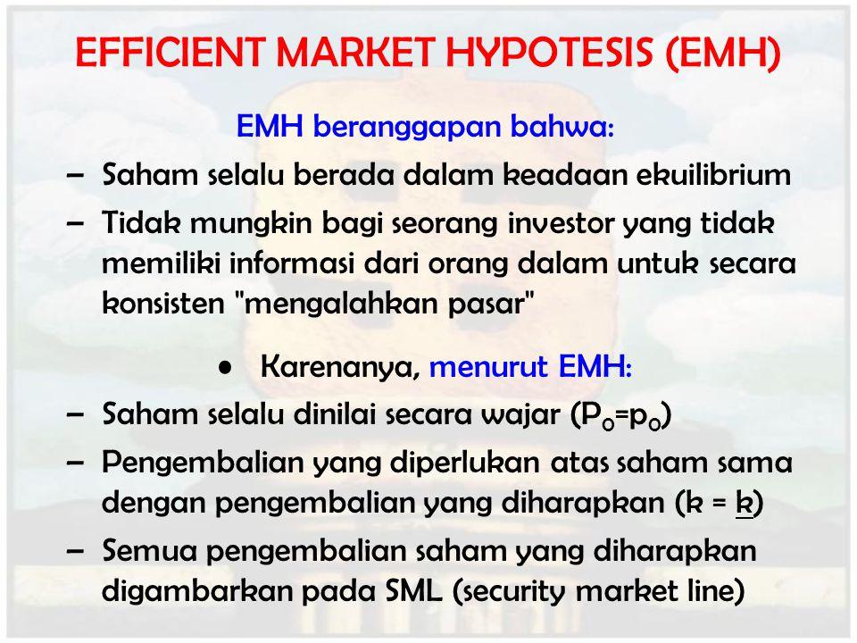 EFFICIENT MARKET HYPOTESIS (EMH) EMH beranggapan bahwa: –Saham selalu berada dalam keadaan ekuilibrium –Tidak mungkin bagi seorang investor yang tidak