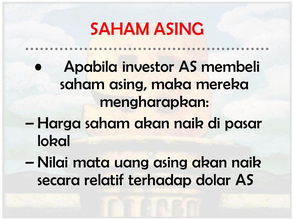 SAHAM ASING Apabila investor AS membeli saham asing, maka mereka mengharapkan: –Harga saham akan naik di pasar lokal –Nilai mata uang asing akan naik