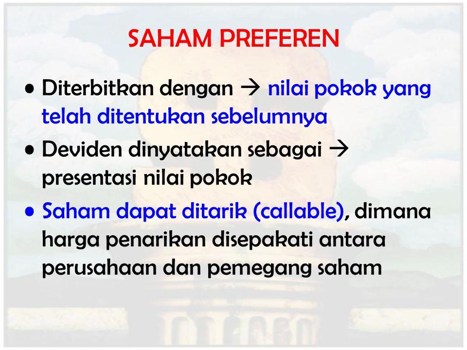 Diterbitkan dengan  nilai pokok yang telah ditentukan sebelumnya Deviden dinyatakan sebagai  presentasi nilai pokok Saham dapat ditarik (callable),