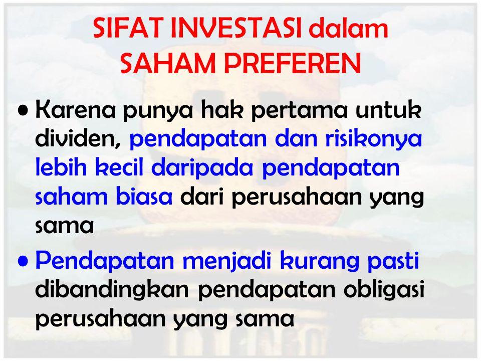 SIFAT INVESTASI dalam SAHAM PREFEREN Karena punya hak pertama untuk dividen, pendapatan dan risikonya lebih kecil daripada pendapatan saham biasa dari