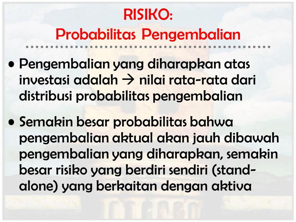 RISIKO: Probabilitas Pengembalian Pengembalian yang diharapkan atas investasi adalah  nilai rata-rata dari distribusi probabilitas pengembalian Semak