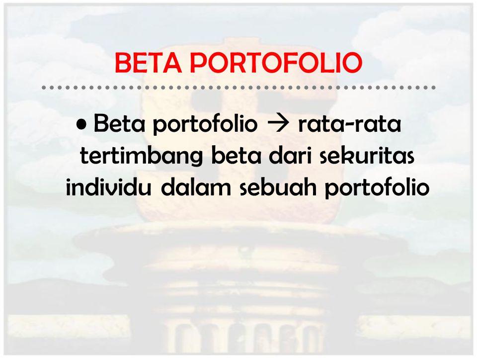 BETA PORTOFOLIO Beta portofolio  rata-rata tertimbang beta dari sekuritas individu dalam sebuah portofolio