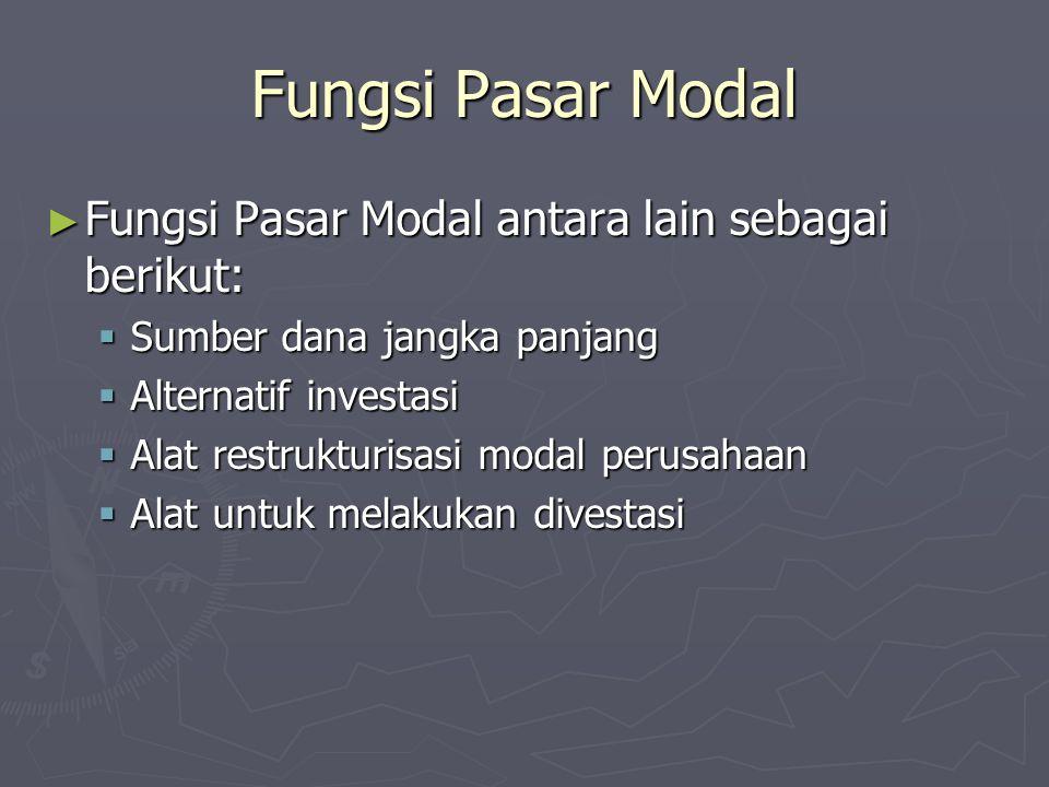 Fungsi Pasar Modal ► Fungsi Pasar Modal antara lain sebagai berikut:  Sumber dana jangka panjang  Alternatif investasi  Alat restrukturisasi modal