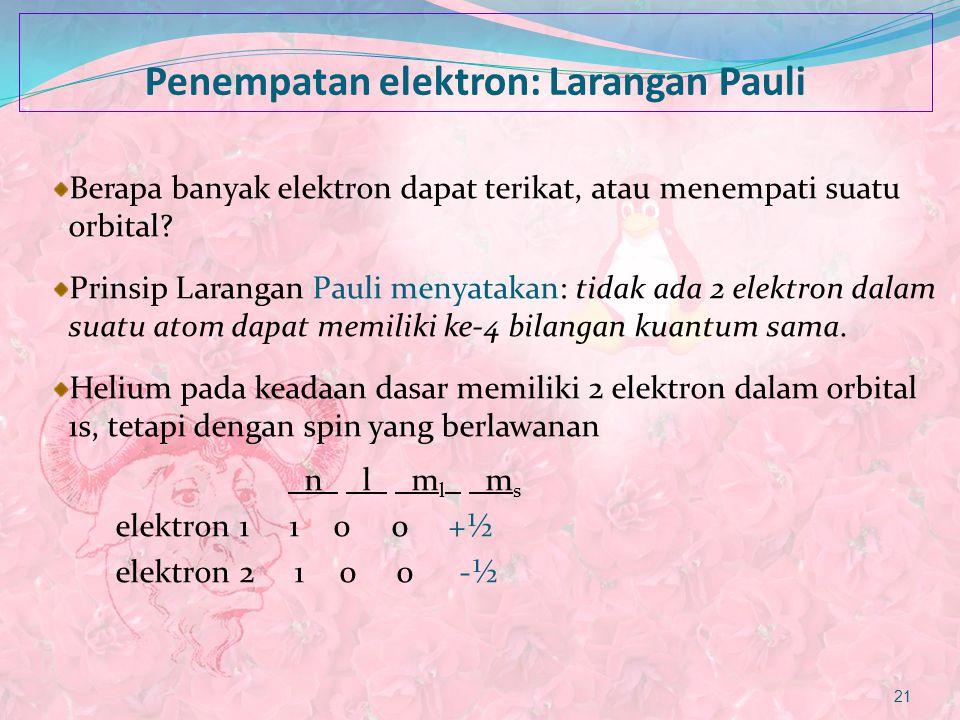 Penempatan elektron: Larangan Pauli Berapa banyak elektron dapat terikat, atau menempati suatu orbital? Prinsip Larangan Pauli menyatakan: tidak ada 2