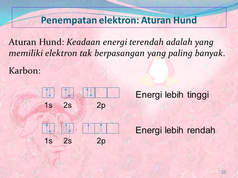 Penempatan elektron: Aturan Hund Aturan Hund: Keadaan energi terendah adalah yang memiliki elektron tak berpasangan yang paling banyak. Karbon: 25 1s2