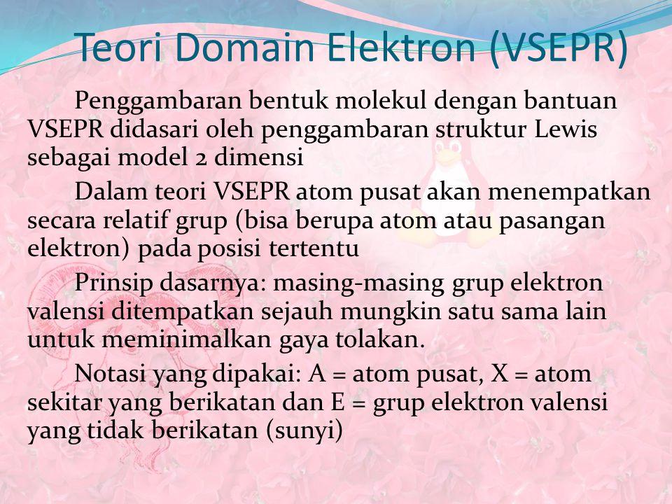 Teori Domain Elektron (VSEPR) Penggambaran bentuk molekul dengan bantuan VSEPR didasari oleh penggambaran struktur Lewis sebagai model 2 dimensi Dalam