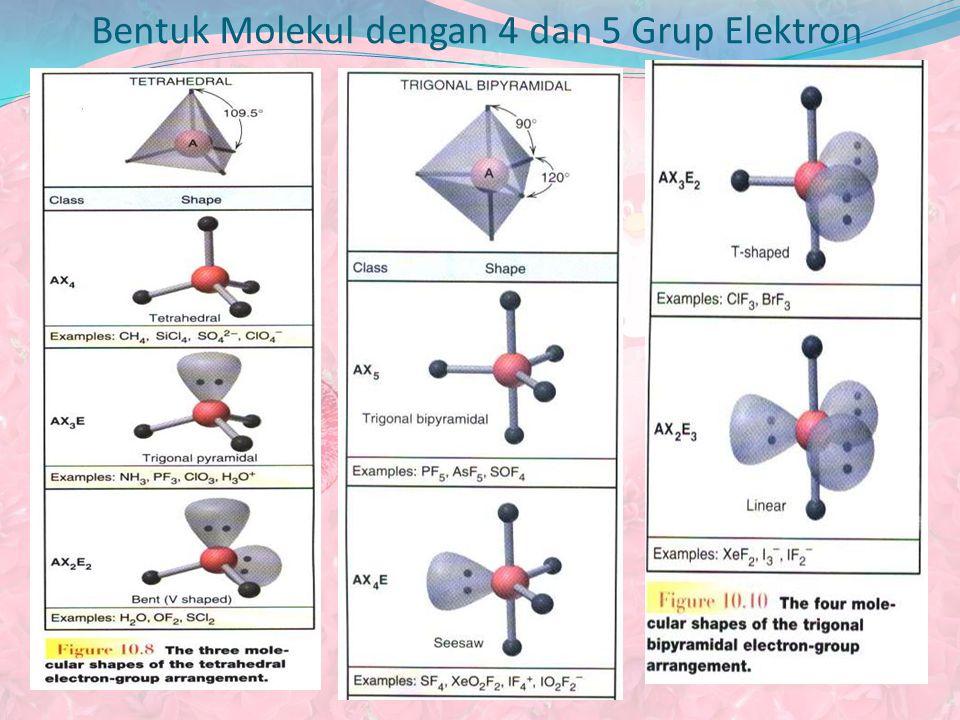 Bentuk Molekul dengan 4 dan 5 Grup Elektron