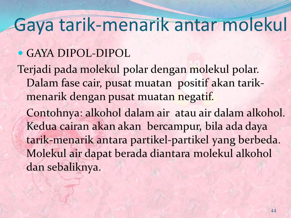 Gaya tarik-menarik antar molekul GAYA DIPOL-DIPOL Terjadi pada molekul polar dengan molekul polar. Dalam fase cair, pusat muatan positif akan tarik- m