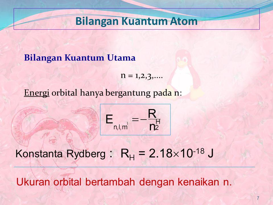 Bilangan Kuantum Atom Bilangan kuantum Azimuth l = 0,1,2,..., n-1 l menentukan bentuk orbital.