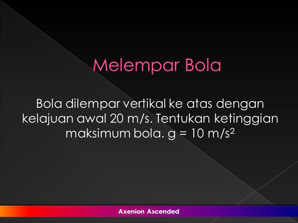 Bola dilempar vertikal ke atas dengan kelajuan awal 20 m/s. Tentukan ketinggian maksimum bola. g = 10 m/s 2 Axenion Ascended Axenion Ascended